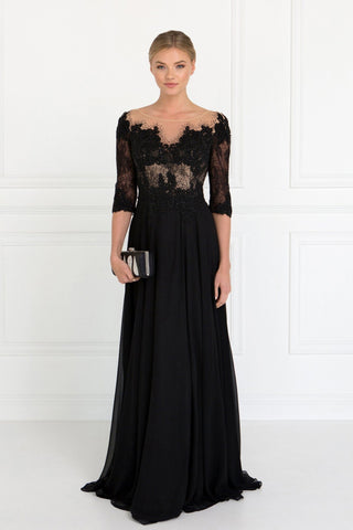 Long sleeve black evening gown gls 1528-Simply Fab Dress