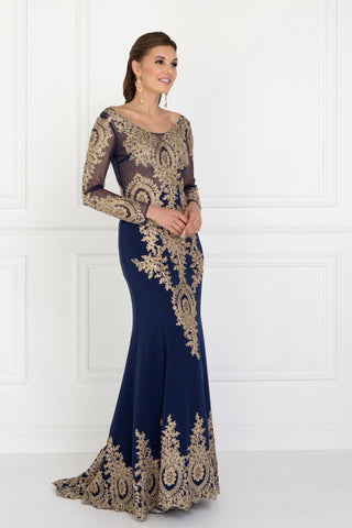Lace evening  gown with sleeves  gls 1585
