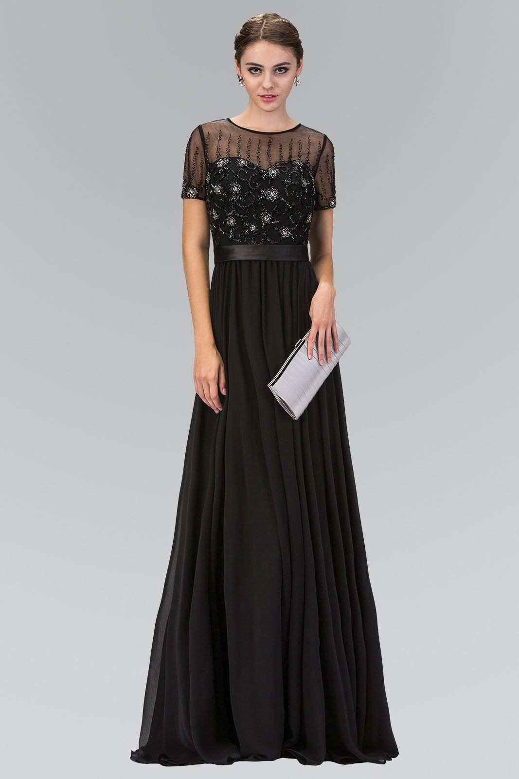 Long sleeve black evening gown gls 2042 – Simply Fab Dress