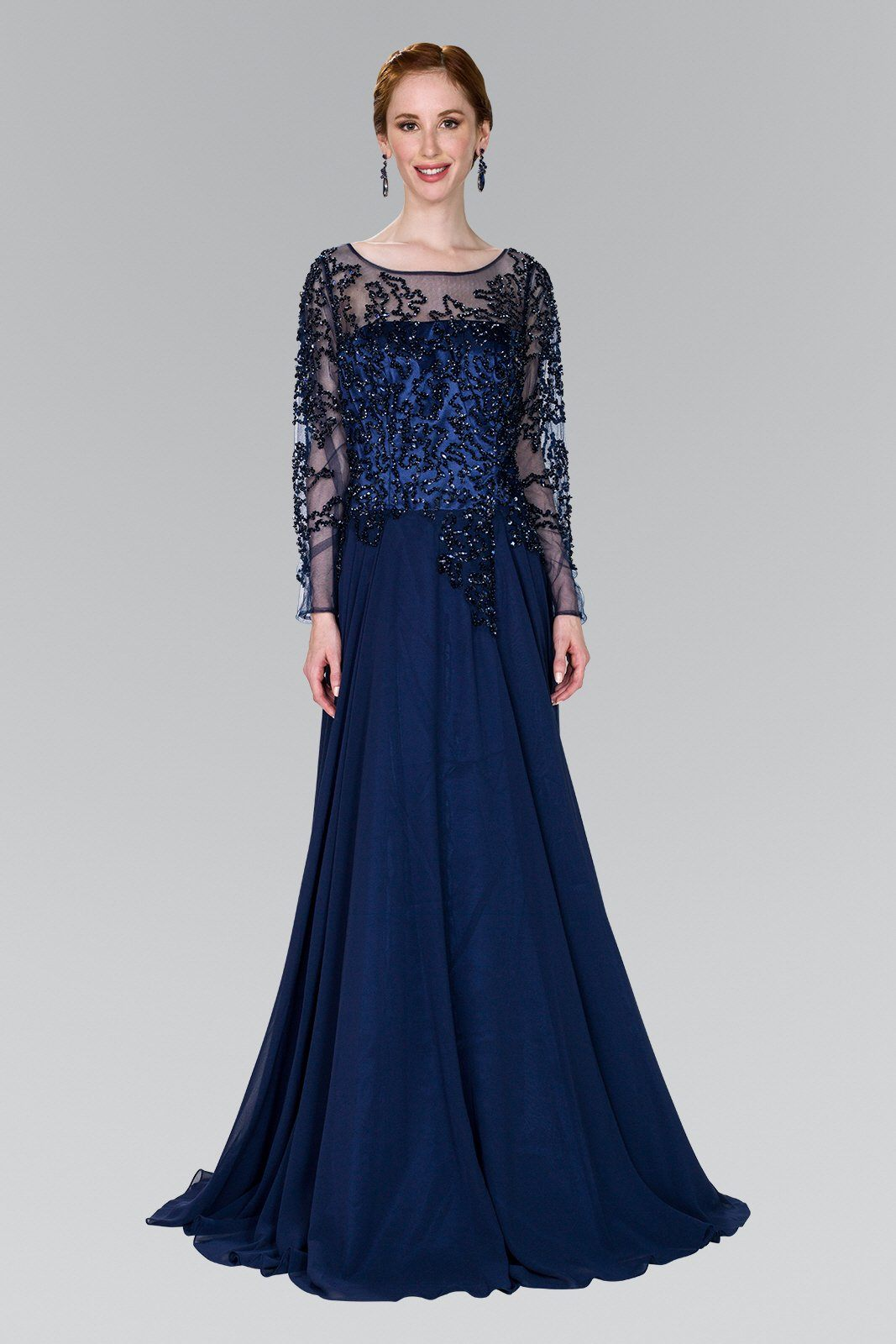 Navy plus size evening dress gls 2096