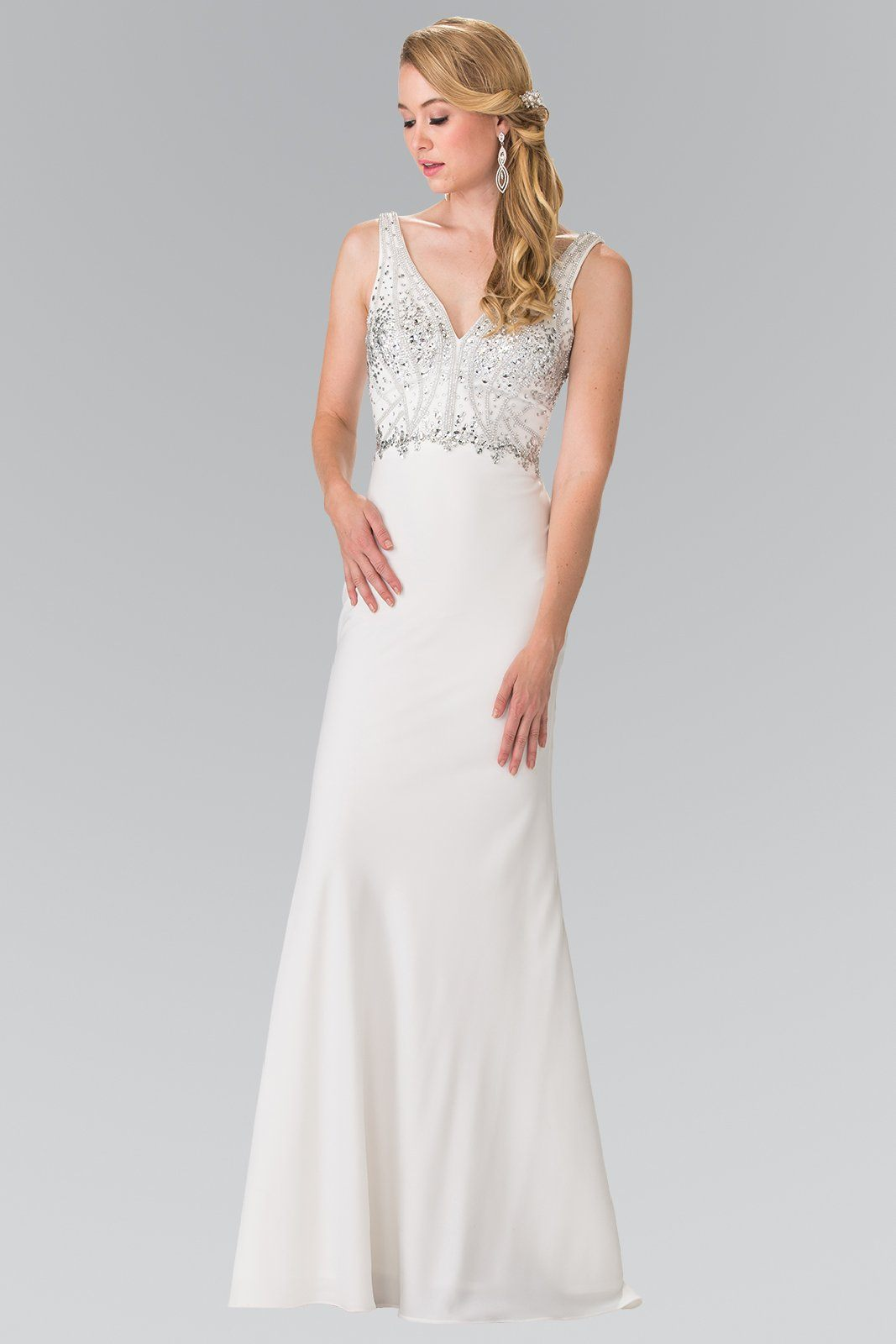 Vow renewal white formal dress gls 2261 simply fab dress white reception dress gls 2261 simply fab dress junglespirit Image collections