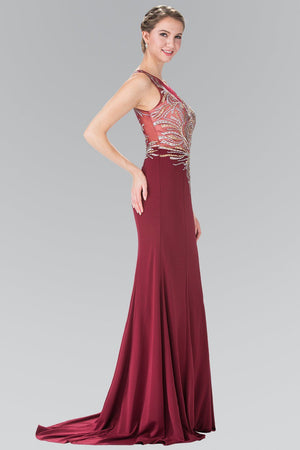 Burgundy evening gown gls 2323-Simply Fab Dress