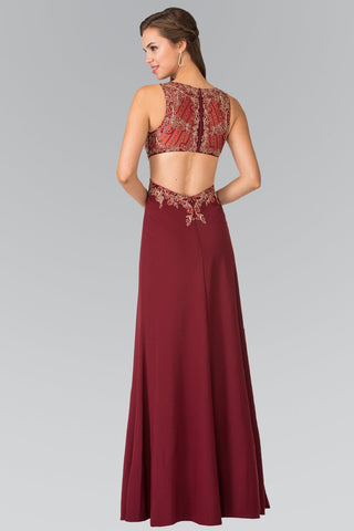 Burgundy prom dress with gold lace gls 2324-Simply Fab Dress