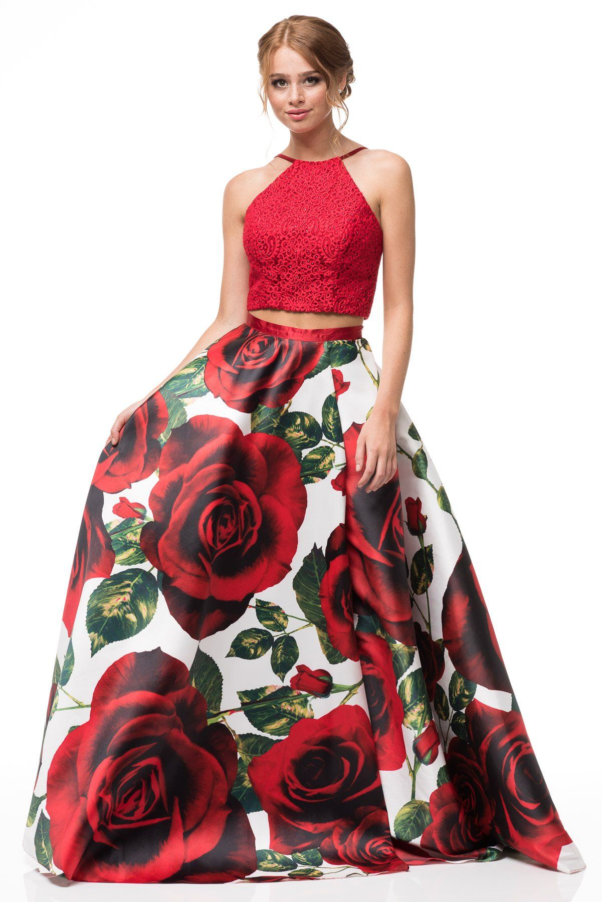 6612c43a1cc Red Two piece Floral Prom Dress BC an06-Simply Fab Dress ...