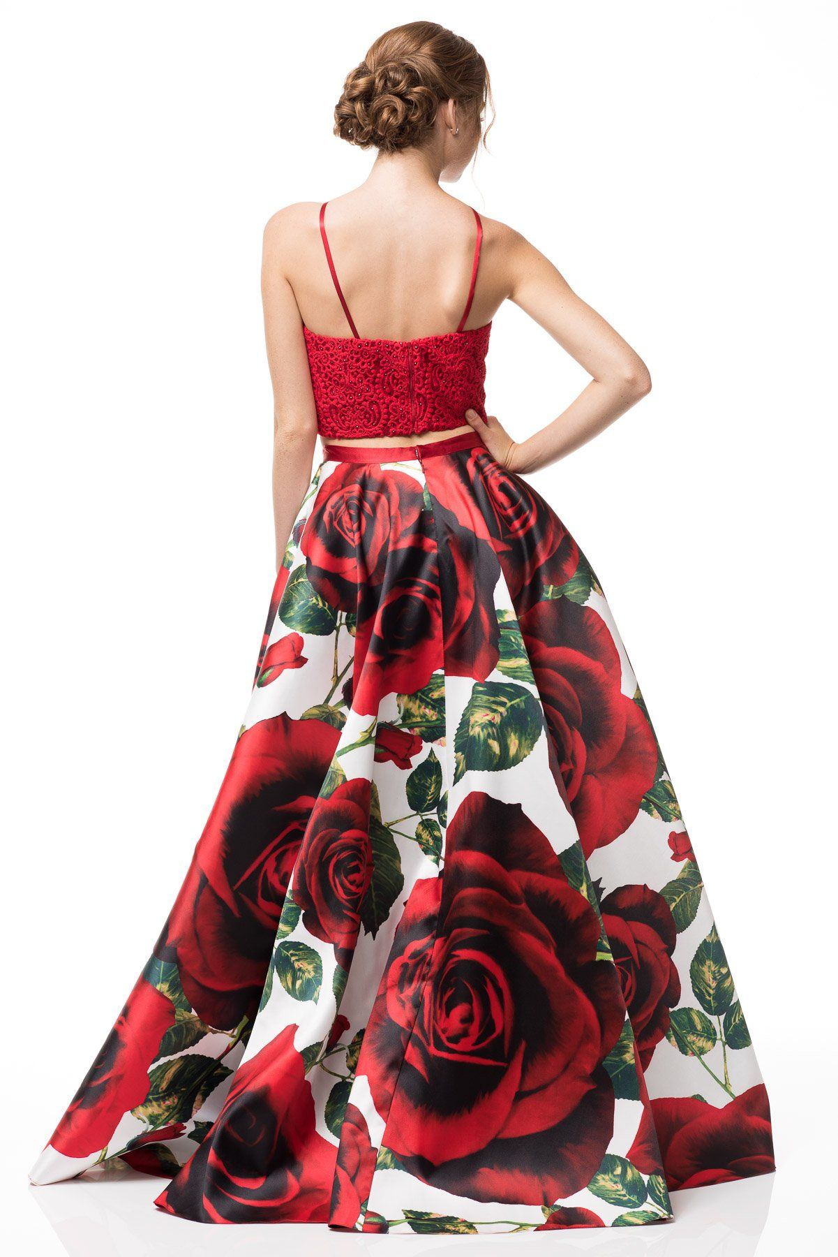 Red Two piece Floral Prom Dress BC#an06-Simply Fab Dress