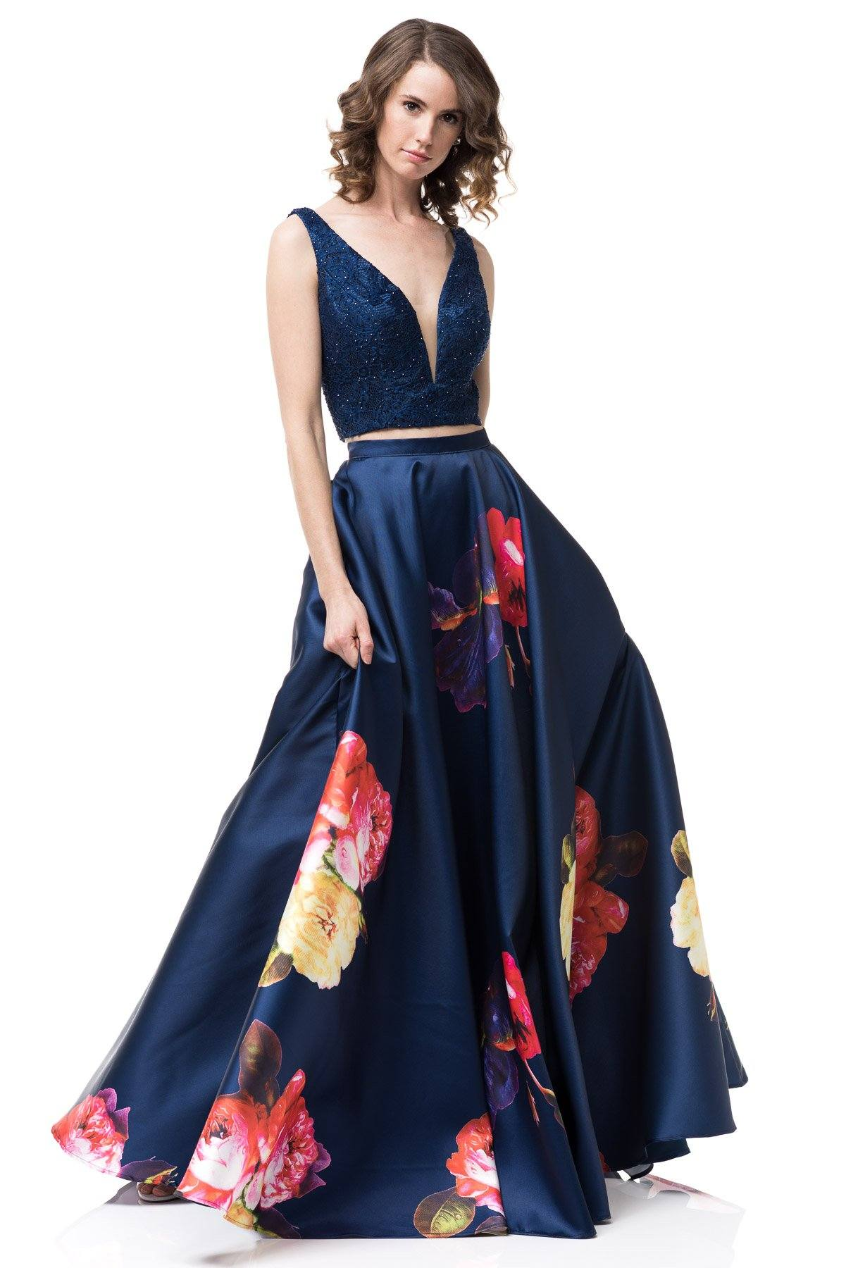 floral two piece homecoming dress #AN876-Simply Fab Dress
