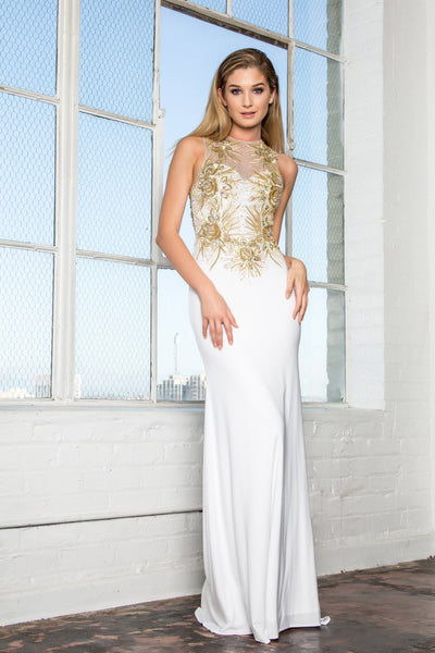 Long white evening gown with gold lace gls 1343-Simply Fab Dress