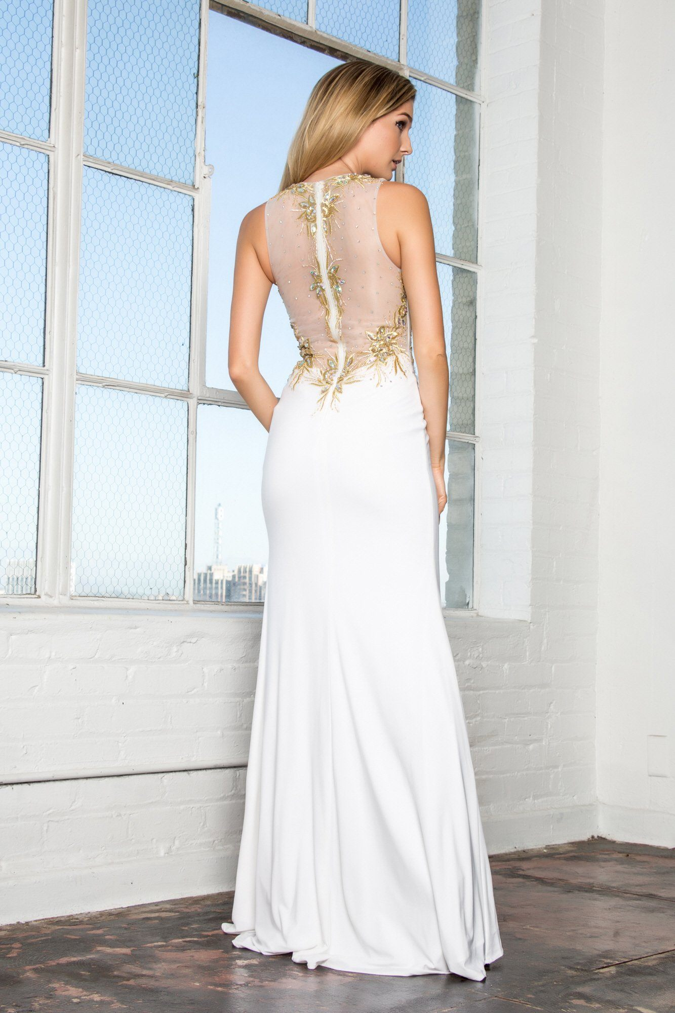 2f69284b7a7 ... Long white evening gown with gold lace gls 1343-Simply Fab Dress ...