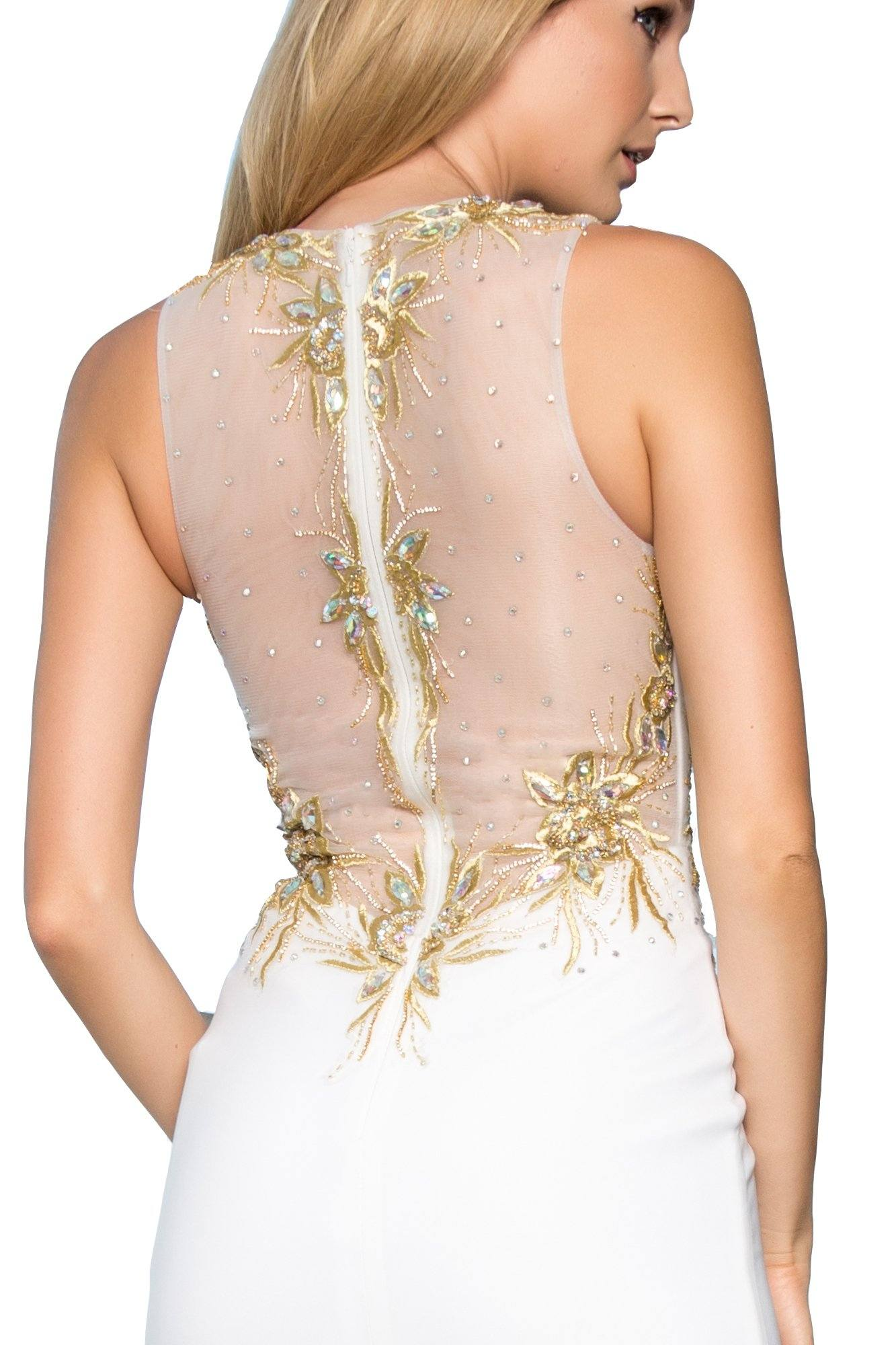 fe75d2407ca ... Long white evening gown with gold lace gls 1343-Simply Fab Dress