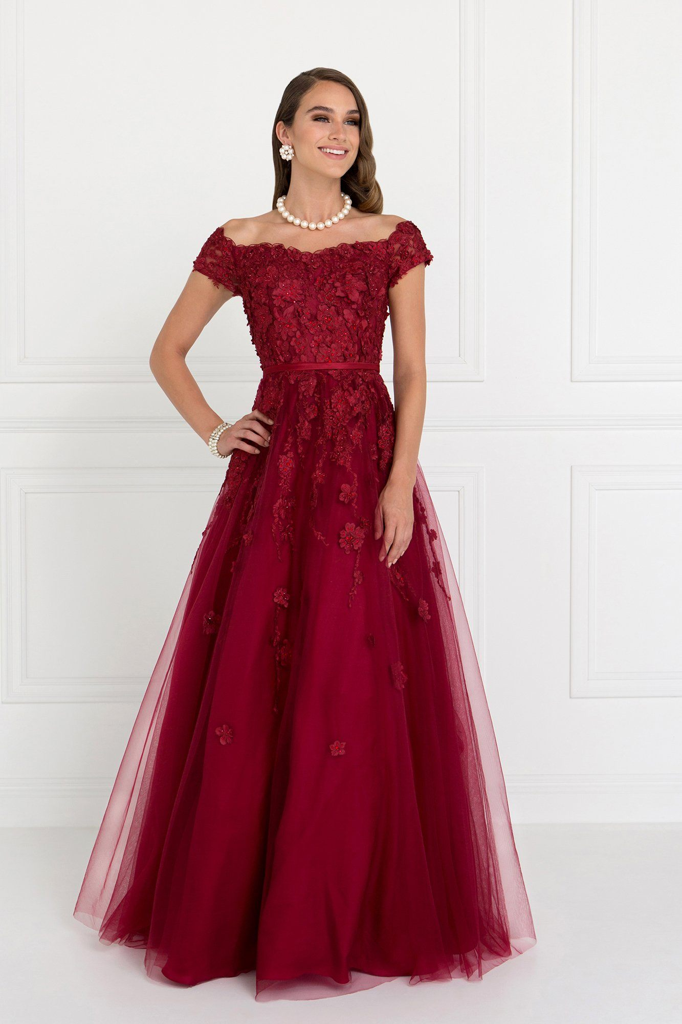 Off the shoulder burgundy ball gown dress gls 1516 – Simply Fab Dress