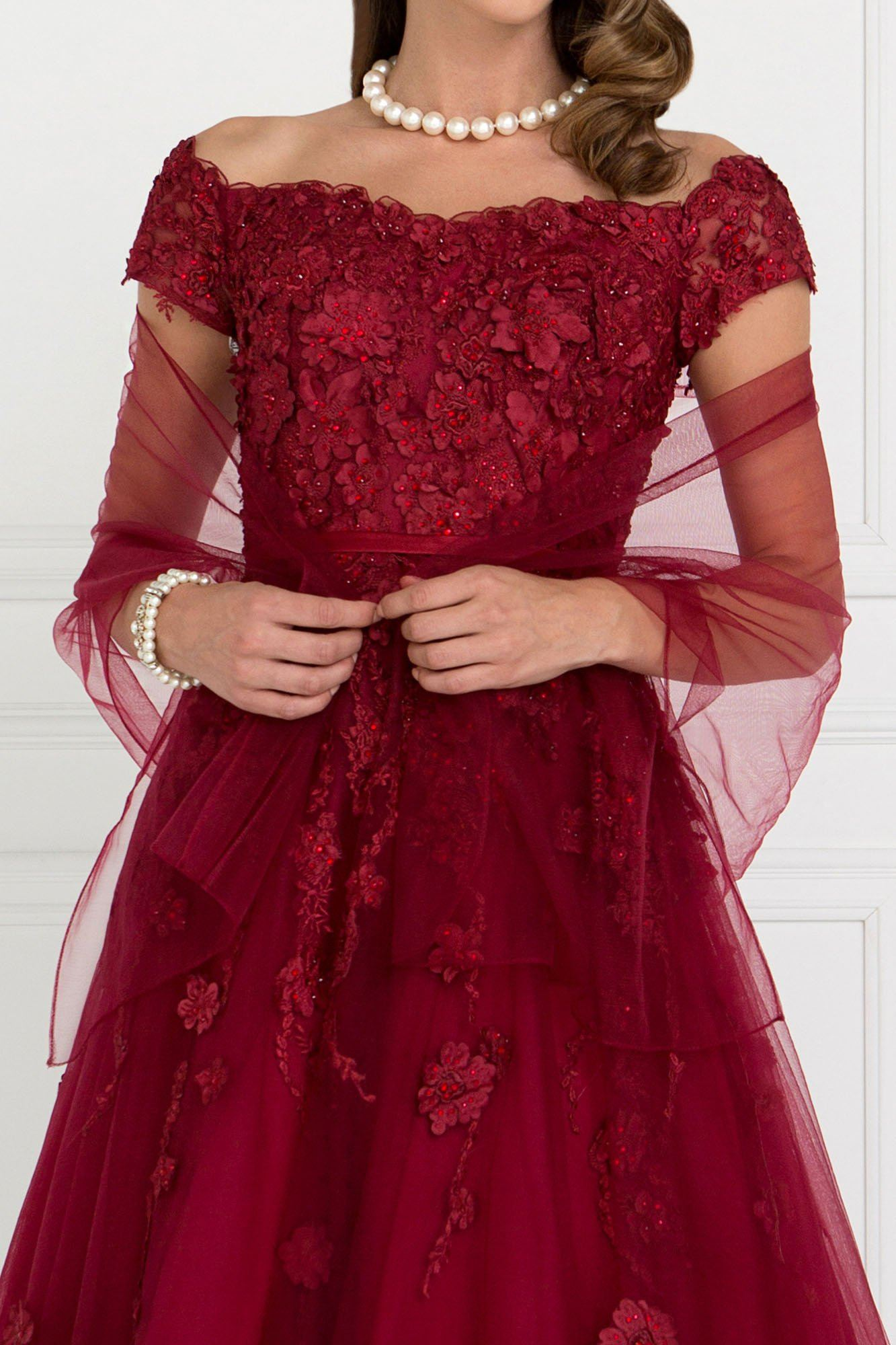 Off the shoulder burgundy ball gown dress gls 1516-Simply Fab Dress