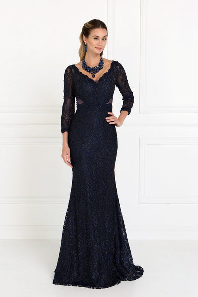 Navy evening gown with sleeves gls 1532-Simply Fab Dress