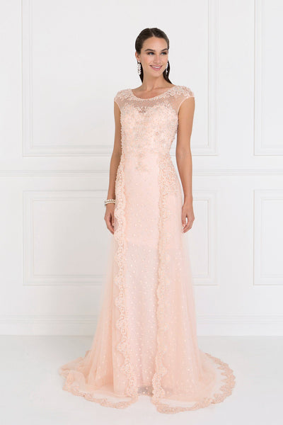 Cap sleeves lace evening dress gls 1539-Simply Fab Dress
