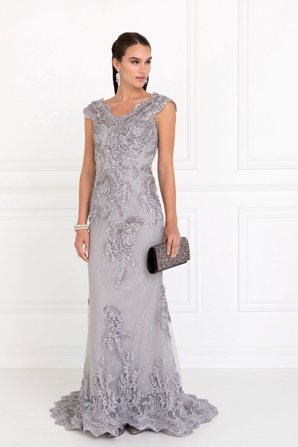 Cap sleeve lace evening dress gls 1540-Simply Fab Dress
