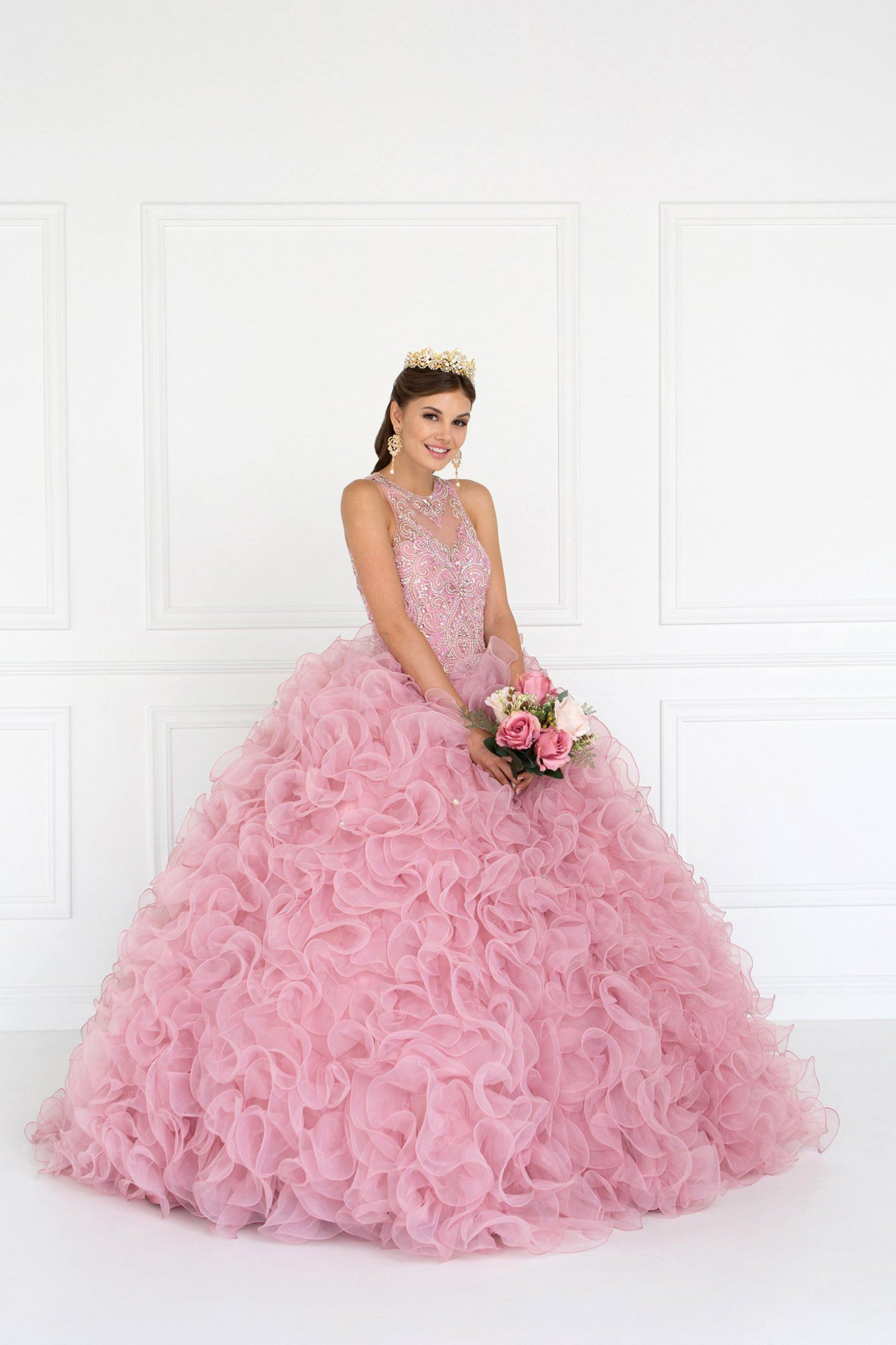 Pink puffy quinceanera dress-Simply Fab Dress