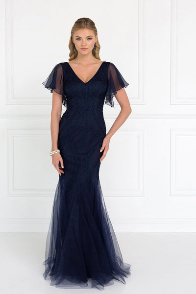 Navy evening gown with sleeves gls 1576-Simply Fab Dress