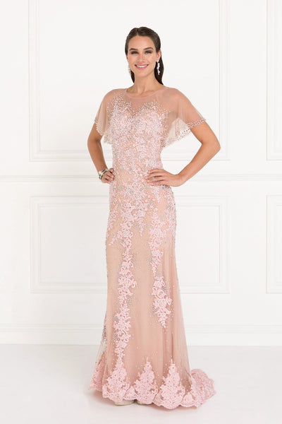 Lace evening gown with sleeves gls 1585-Simply Fab Dress