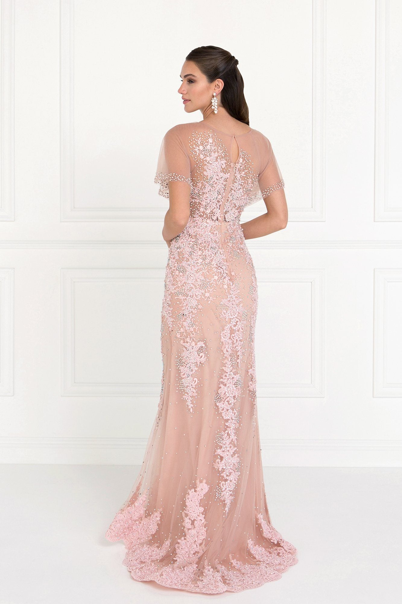 Lace evening gown with sleeves gls 1585 – Simply Fab Dress