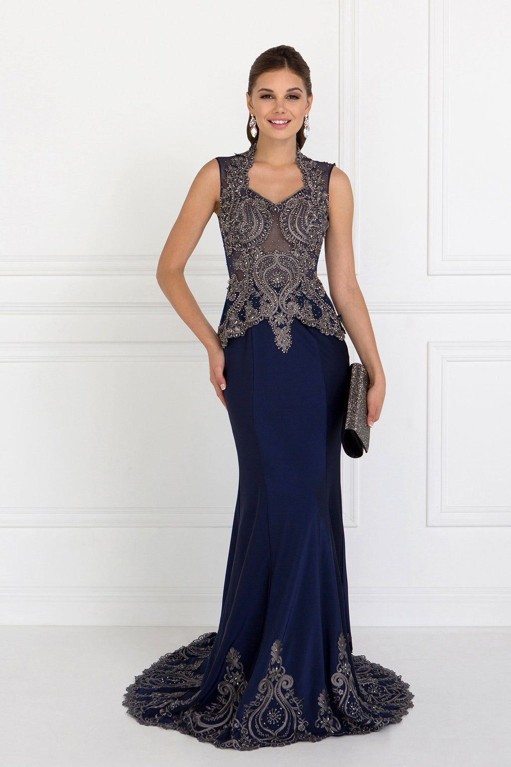 Elegant evening gown with lace gls 1598-Simply Fab Dress