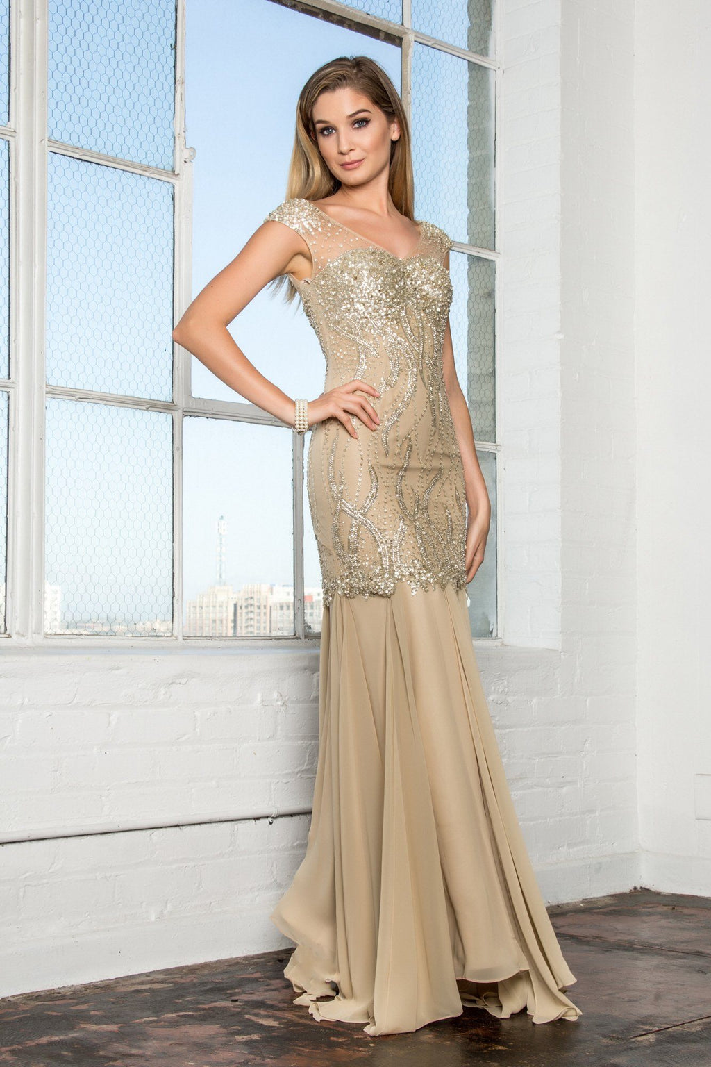 Gold evening gown gls 2123-Simply Fab Dress