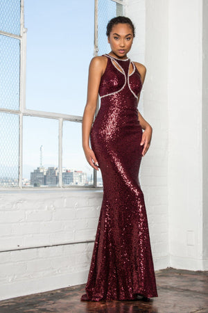 Sexy Sequin burgundy evening gown Gls 2217-Simply Fab Dress