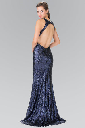 Sequin open back prom dress  Gls 2217-Simply Fab Dress