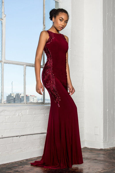 Sexy burgundy formal dress gls 2222-Simply Fab Dress