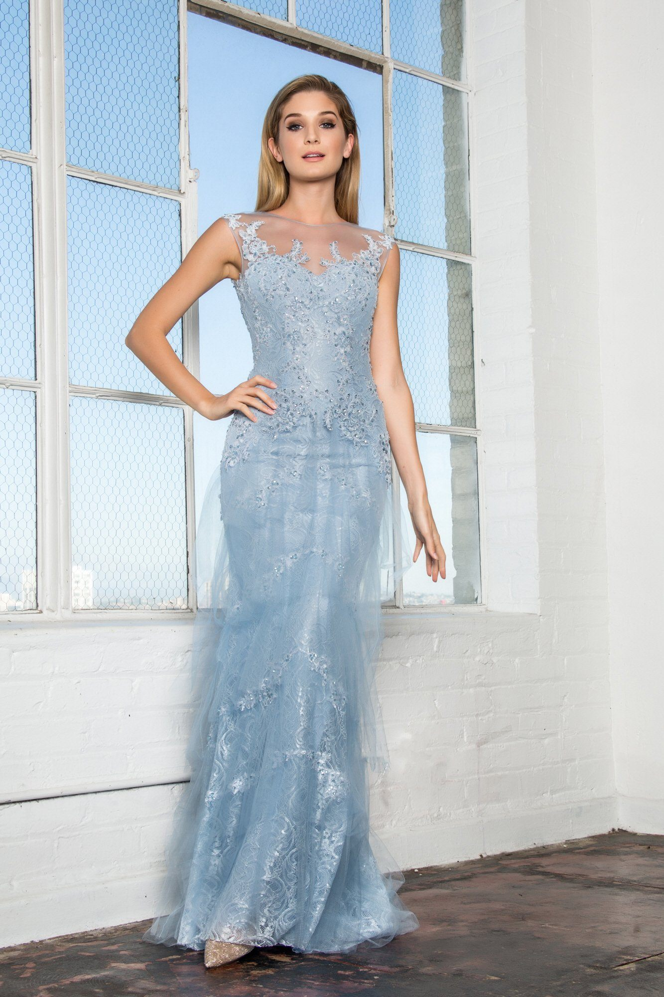 Lace tulle periwinkle wedding dress #gl2258 – Simply Fab Dress