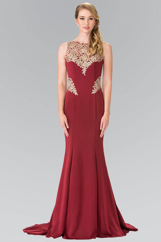 Burgundy prom dress with gold lace gls 2312-Simply Fab Dress