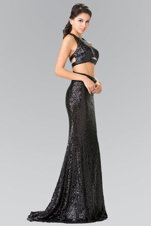 Sequin black two piece prom dress gls 2333-Simply Fab Dress