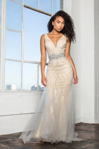 Mermaid fitted evening gown  gls 2166