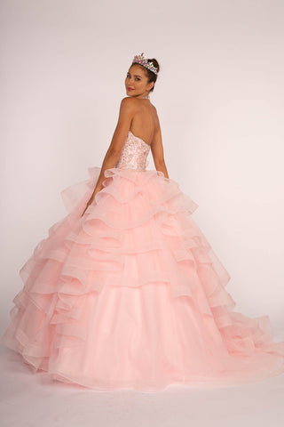 Sparkly quinceanera dress with puffy skirt gls 2350