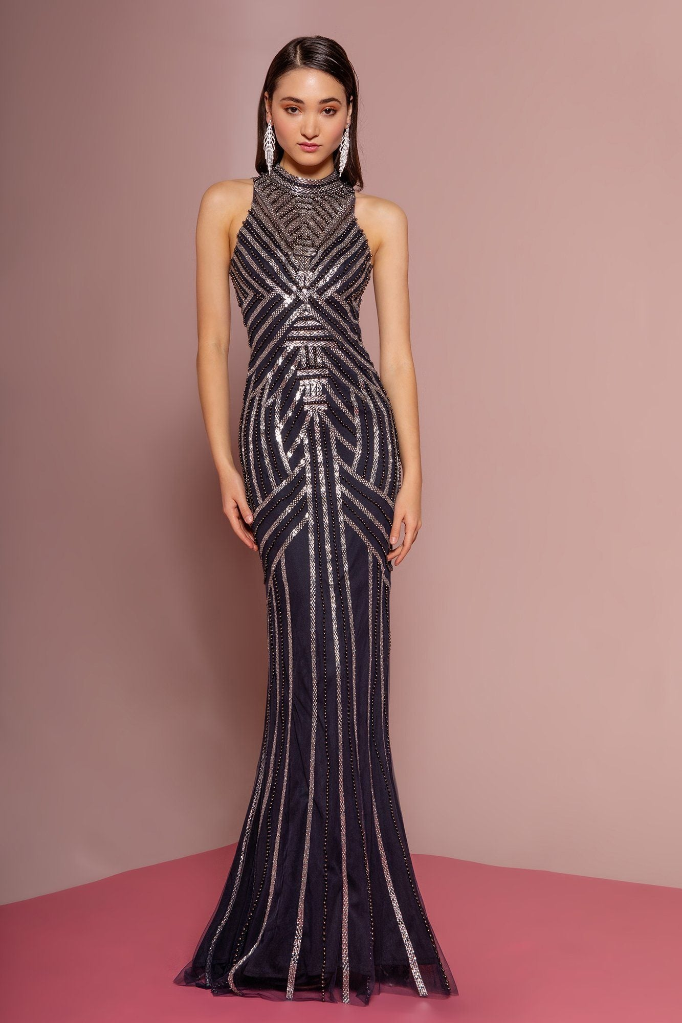 High neck sequin prom dress Gls 2677-Simply Fab Dress