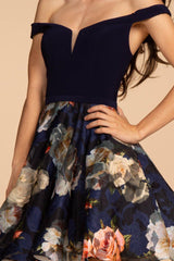 Navy floral homecoming dress GS1605-Simply Fab Dress
