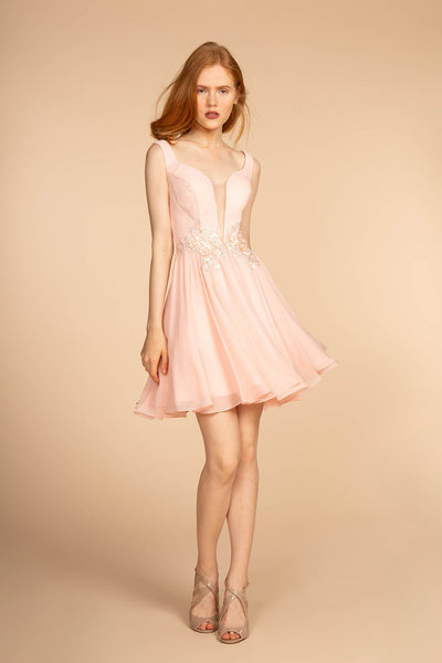 Blush Pink Short Homecoming Dress-Simply Fab Dress