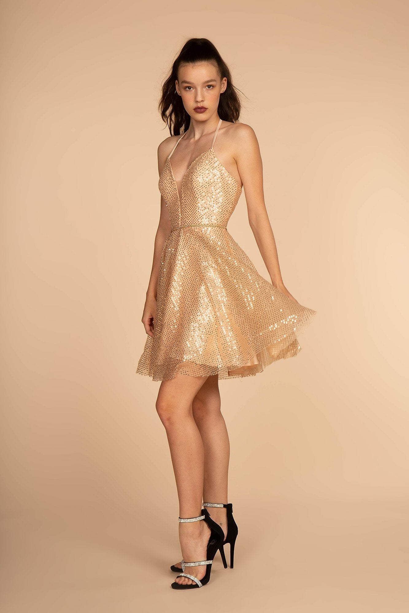 new high good out x good quality Short Gold Sequin Dress GS1630 – Simply Fab Dress