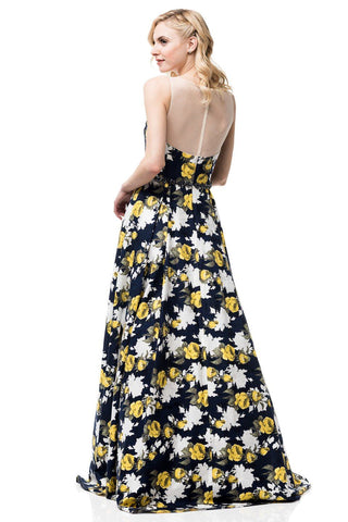 Navy floral print a-line ball gown prom dress BB  CC71121 - Simply Fab Dress
