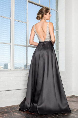 Sequin top ball gown dress gls2287-Simply Fab Dress
