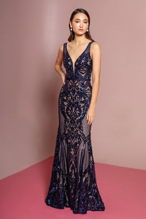 Navy sequin dress gls 2551-Simply Fab Dress
