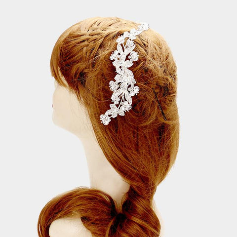 Silver floral wedding hair comb #W342183 - Simply Fab Dress