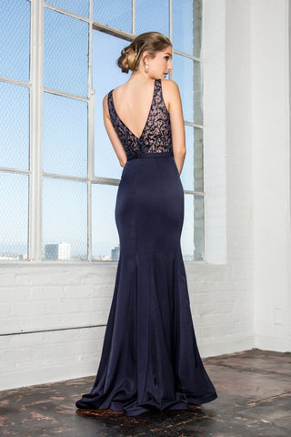 Illusion navy prom dress gls 2372-Simply Fab Dress