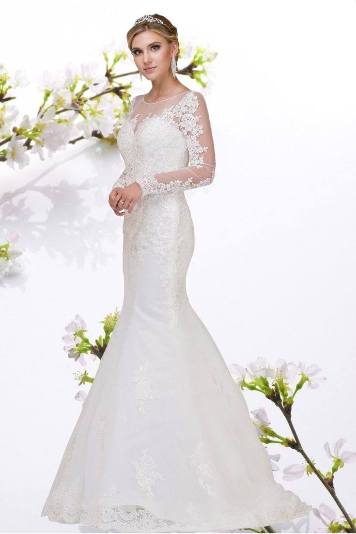 Long sleeve lace plus size cheap mermaid wedding dress #dq0012 - Simply Fab Dress