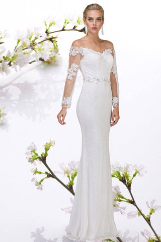 Inexpensive long sleeve casual lace wedding dress #DQ0002 - Simply Fab Dress