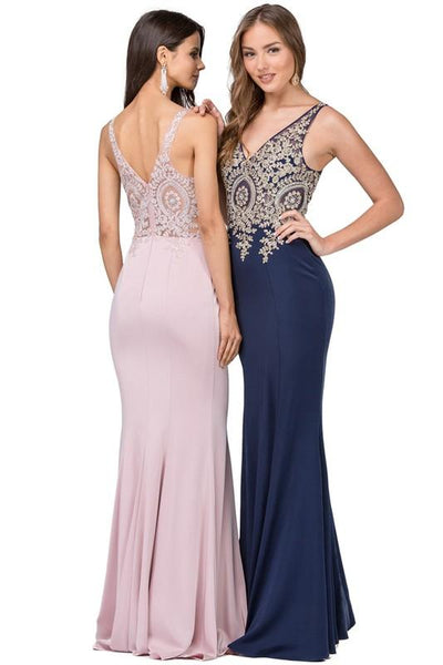 Sheer illusion tight prom dress DQ2213 - CLOSEOUT