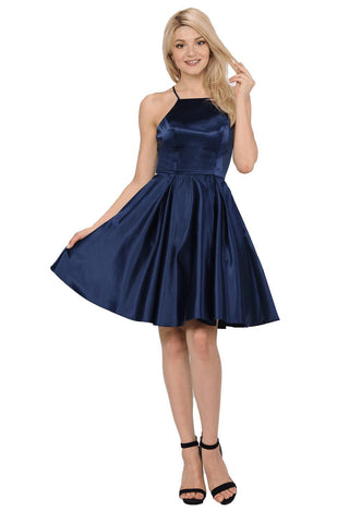 Simple Navy Homecoming Dress poly #8312-Simply Fab Dress