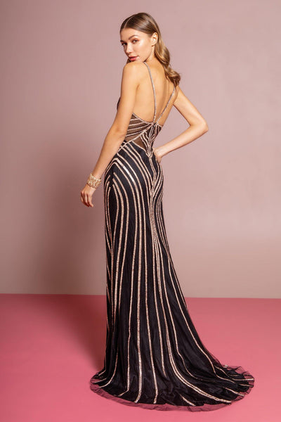 Gold black sexy gown Gl2633-Simply Fab Dress