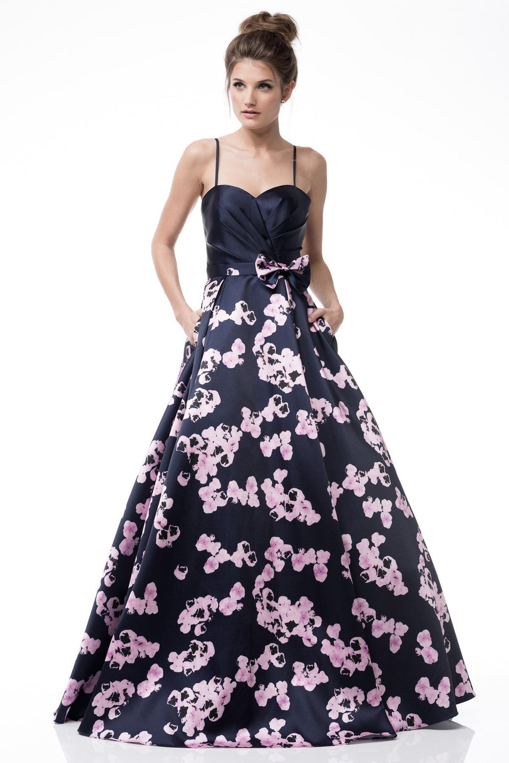 Black floral a-line ball gown homecoming dress  BB EM1701 - Simply Fab Dress