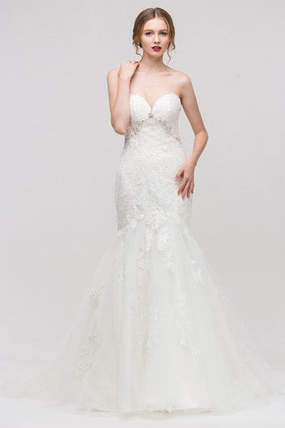 Strapless sweetheart neckline lace mermaid wedding dress EU#6507 - Simply Fab Dress