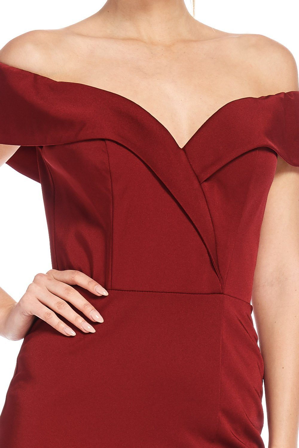 Burgundy off the shoulder formal dress #FR16974-Simply Fab Dress