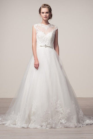 A-line ball gown Wedding Dress with lace applique FRW16243 - Simply Fab Dress